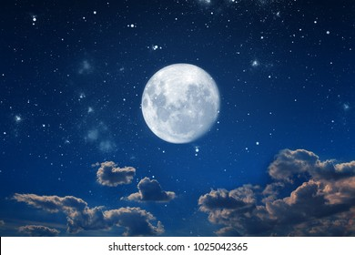 background night sky with stars and moon.