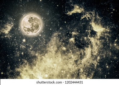 background night sky with stars and moon. Elements of this image furnished by NASA