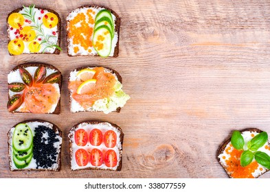 Background of Nordic open sandwiches. Background of scandinavian food. Free space for your text.