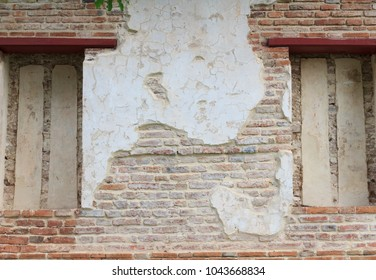 background of old ancient bricks wall at Ayutthaya history park, select focus, Ayutthaya province,Thailand.