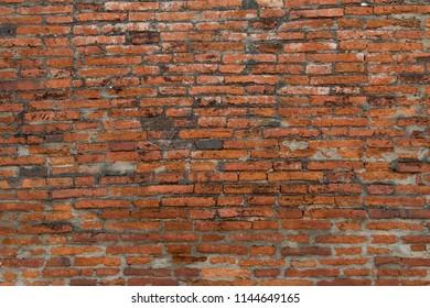 background of old ancient bricks wall at Ayutthaya history park, Ayutthaya province,Thailand.