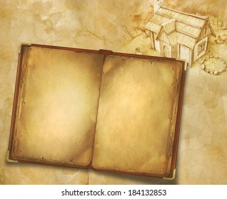 Background with old book and painted house