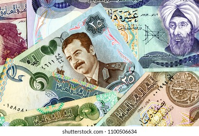 Background from old different banknotes of Iraq money