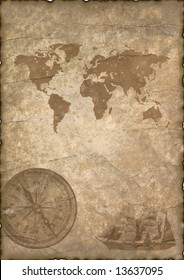 Background - old paper with compass and map.