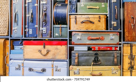 background of old suitcases