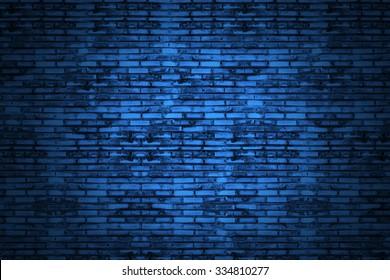 Background of old vintage dark blue brick wall. Blue brick  .Street light dark blue wall. In Tunnel dark blue brick wall. Old school style brick wall.