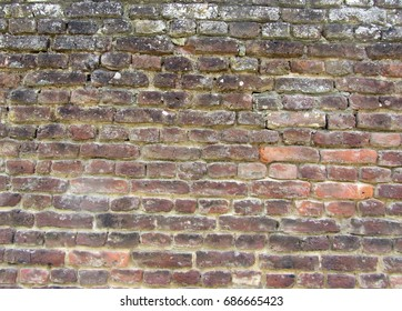 Background of old vintage dirty brick wall with peeling plaster, texture.