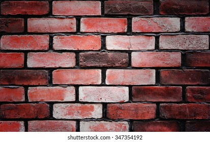 Background of old vintage red brick wall. - Shutterstock ID 347354192