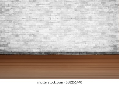 Background of old vintage White brick wall on road