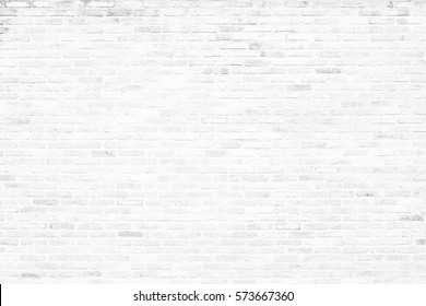 Background of old white brick wall pattern texture.