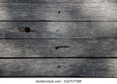 background of old wooden bridge floor with soft shoe marks