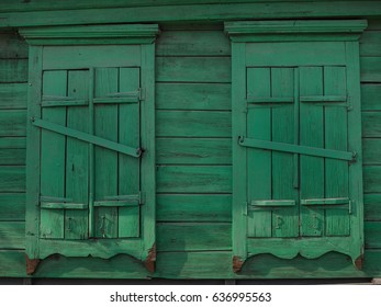 Background of old wooden shutters of green color