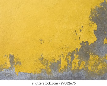 Background of old yellow painted wall