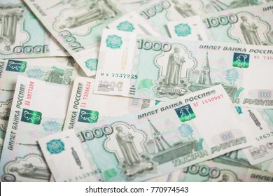 Background of one-thousandth banknotes Russian rubles