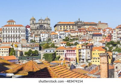 background panoramic view of the buildings and roofs of the old town of Porto, Portugal