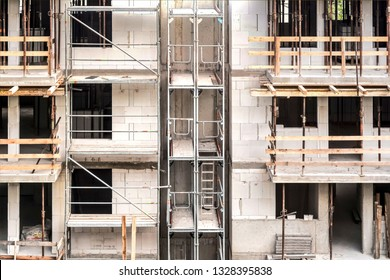 Background of partment building construction site with scafolding