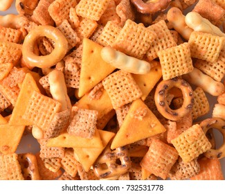 A background of party snack food