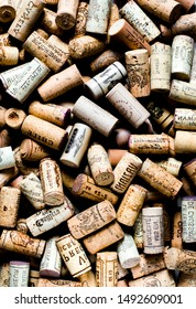 Background pattern of different wine bottle corks, winery texture, food concept and top view