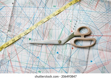 Background with pattern, measuring tape and scissors. Focused on scissors