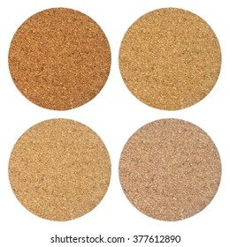 Background Pattern, Set of Brown Round Cork Coasters Isolated on White Background.