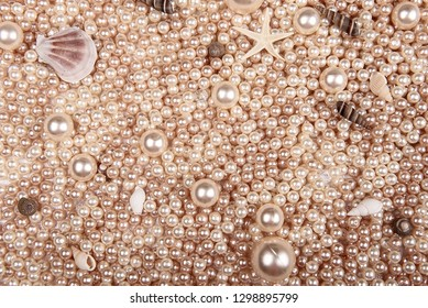 background of pearls and shells