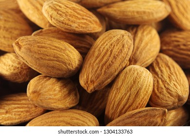 Background of peeled almonds. Almond texture