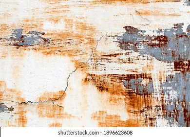 background of peeling paint and rusty old metal