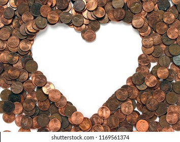 Background of Pennies with Heart Center
