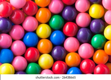 Background photo of multicolored gumballs