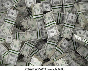 Background of pile of 100 dollar bill wads