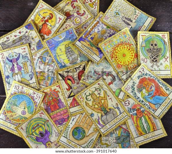 Background Pile Tarot Cards Major Arcana Stock Photo (Edit