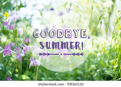 """A background with pink aquilegia flowers in a garden and the text """"Goodbye, Summer!"""""""