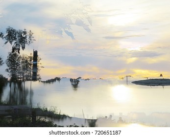 The background from the place for rest at City Park at the lake at sunset. The complex mixed image for the decoration of a modern smart home.
