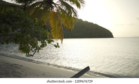 Background Plate of Caribbean beach at sunset with for green screen