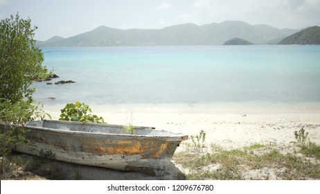 Background Plate of A rustic boat on the Caribbean beach for green screen