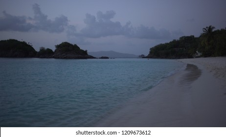 Background Plate of Twilight on the Caribbean beach for green screen