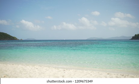 Background Plate of Wide shot of the Caribbean oceanic tide for green screen