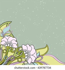 Background with poppies and leaves. Raster illustration. Decorative composition with abstract flowers in soft colors and dotted background. Copy space.