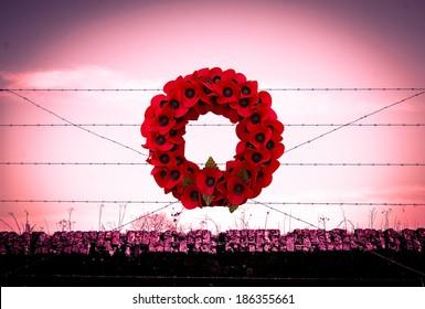 Background poppy WW1 barbed wire and sandbags world war