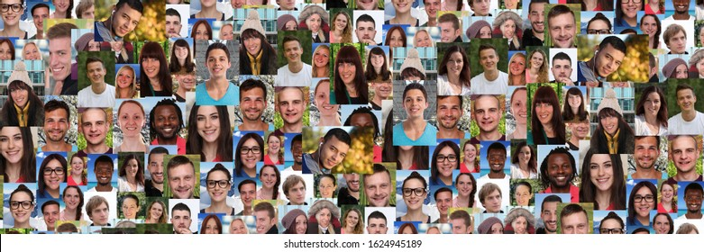 Background portrait collection group of young people portraits panorama faces multicultural social media network