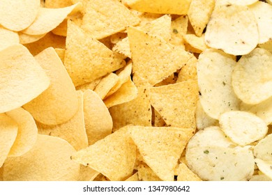 Background of potato chips