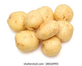 background of potatoes isolated on white