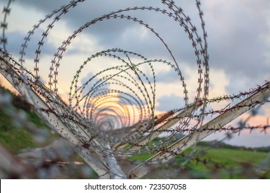 Background of prison warfare, barbed wire fence in Phuket Thailand