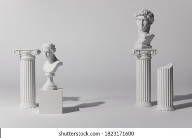 Background for product presentation. Antique columns ans statues on white background - Shutterstock ID 1823171600
