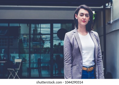 Background of professional successful smart beautiful white women own business. The owner is confident, elegant, friendly and smiling with happiness to greeting consumer