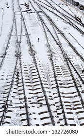 Background of railway lines in winter in Simferopol, Crimea, Ukraine