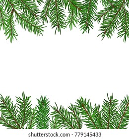Background with realistic green fir tree branch. Christmas, New Year symbol. Art raster illustration