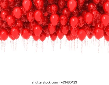 Background of red balloons isolated on white. 3d render