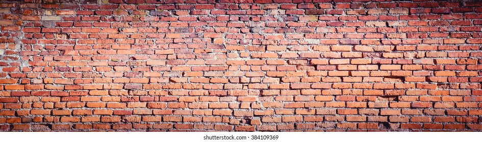 Background of red brick wall pattern texture. High resolution panorama.
