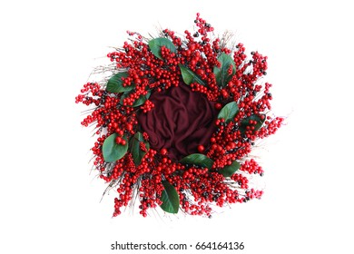 Background Of Red Christmas Holiday Wreath Isolated On White